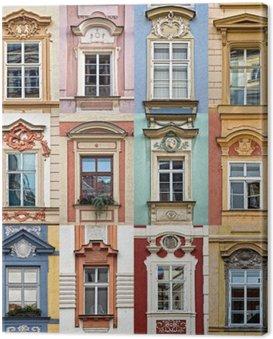 Canvas Print Collage of colorful windows of Prague, Czech Republic
