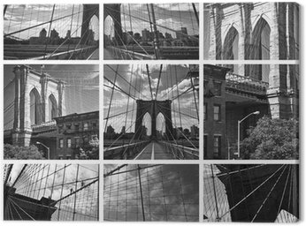 Canvas Print Collage Pont de Brooklyn noir et blanc - New York USA