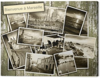 collage views of Marseille, black and white photos on a wooden b