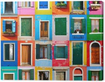 Canvas Print Collage von Türen und Fenstern aus Burano