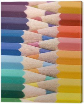 Canvas Print color pencils, the rainbow out of wooden