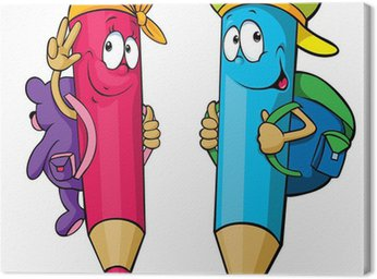 colored pencils cartoon with school bags on their backs