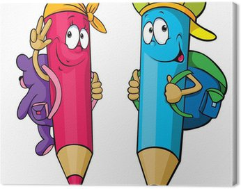 Canvas Print colored pencils cartoon with school bags on their backs