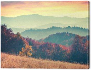 Colorful autumn sunrise in the Carpathian mountains