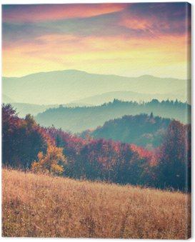 Canvas Print Colorful autumn sunrise in the Carpathian mountains