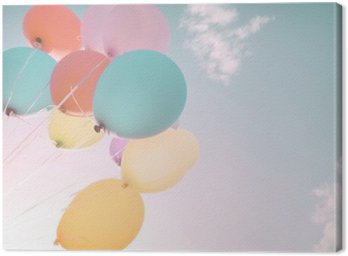 Canvas Print Colorful balloons in summer holidays. Pastel color filter