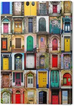 Colorful collage of variety of doors