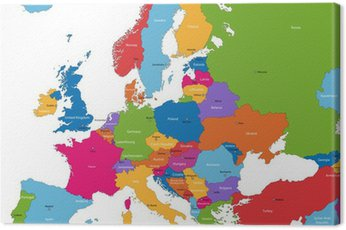 Canvas Print Colorful Europe map with countries and capital cities