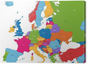 Colorful Europe map with countries and capital cities