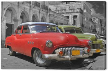 Canvas Print Colorful Havana cars panorama