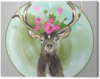 Canvas Print colorful head of deer with flowers
