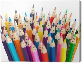 Canvas Print Colorful pencils as smiling faces people isolated. Social networ
