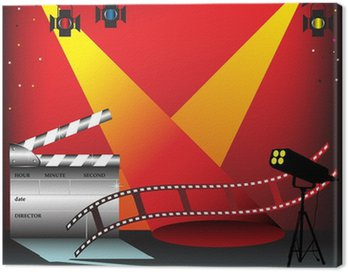 Colorful stage lights, film strip and clapper board