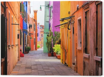 Canvas Print Colorful street in Burano, near Venice, Italy