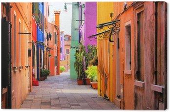 Colorful street in Burano, near Venice, Italy Canvas Print