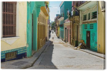 Colorful street in Old Havana Canvas Print