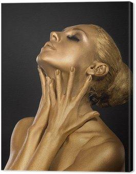 Canvas Print Coloring. Gilt. Golden Woman's Face. Art concept. Gilded Body