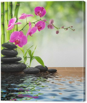 Canvas Print composition bamboo-purple orchid-black stones