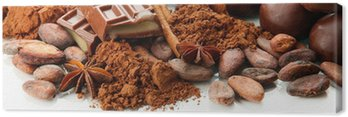 Canvas Print Composition of chocolate sweets, cocoa and spices, isolated