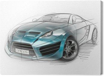 Canvas Print Concept car sketch. Original car design.