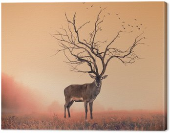 Canvas Print Conceptual Deer stag , a dry tree as red deer stag