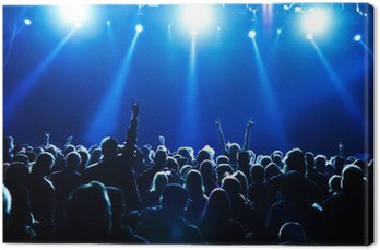 Canvas Print concert crowd in front of bright blue stage lights