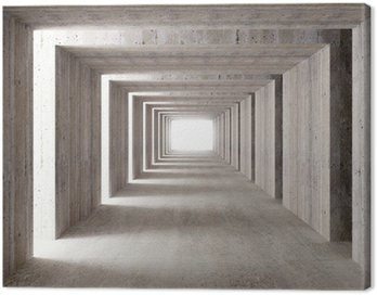 Canvas Print concrete tunnel and lateral lights