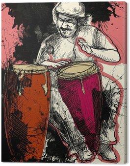 conga player - a hand drawn grunge illustration