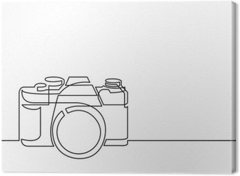 Canvas Print continuous line drawing of retro photo camera