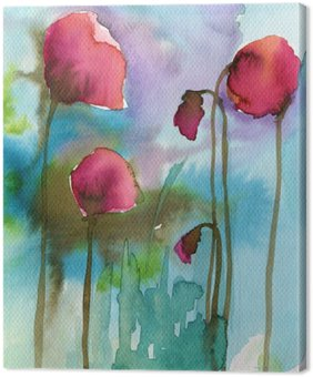 Canvas Print cover, poppies, red