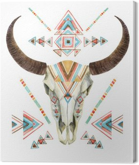 Canvas Print Cow skull in tribal style. Animal skull with ethnic ornament