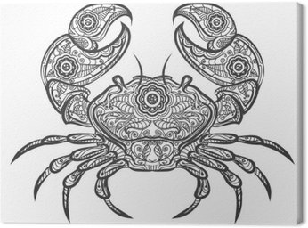 Crab zentangle icon. Vector hand drawn crab