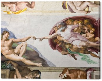 Canvas Print Creation of Adam by Michelangelo, Sistine Chapel, Rome
