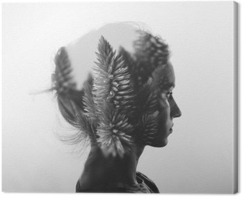 Canvas Print Creative double exposure with portrait of young girl and flowers, monochrome