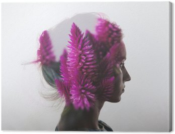 Canvas Print Creative double exposure with portrait of young girl and flowers