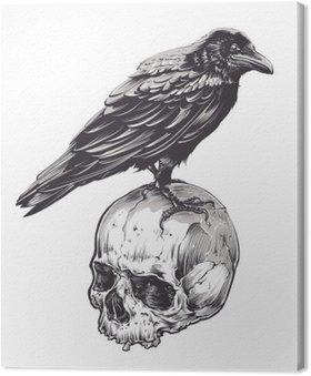 Canvas Print Crow on Skull