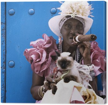 Canvas Print Cuban cigar lady