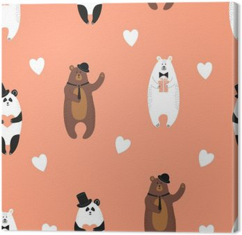 Cute bears pattern. Seamless romantic background with polar bear, brown bear and panda. Canvas Print