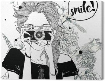 Canvas Print cute cartoon girl