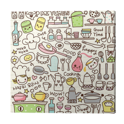 Cute doodle kitchen stuff canvas print pixers we live for Pixers your walls and stuff
