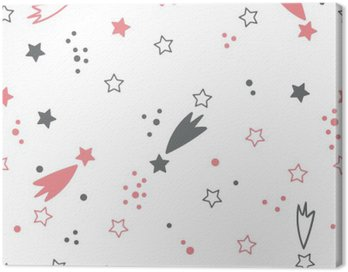 Canvas Print Cute seamless pattern with stars. Space background