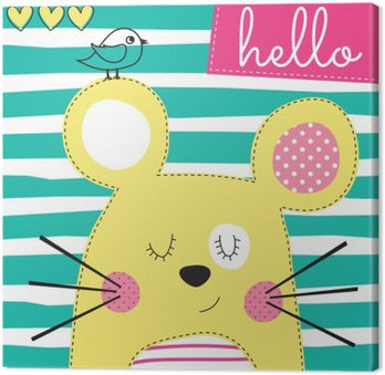 Canvas Print cute yellow mouse with bird vector illustration