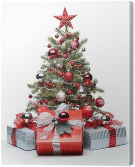 Decorated Christmas tree and gifts