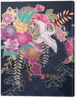 Canvas Print Decorative kimono floral motif