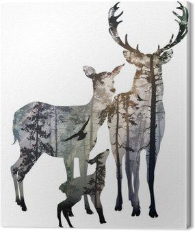 Canvas Print deer family