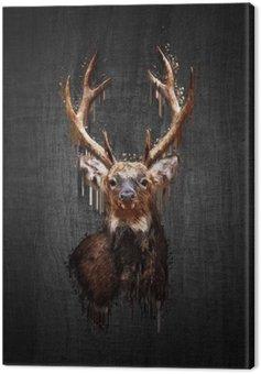 Deer on dark background. Paint effect