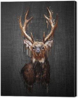 Canvas Print Deer on dark background. Paint effect