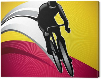 Designed background with bicycle driver.