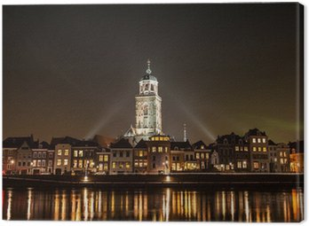 Deventer at night view from the other side of the Ijssel Canvas Print