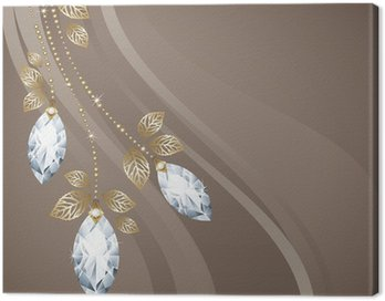 Canvas Print Diamond and gold decoration. Postcard. Vector.